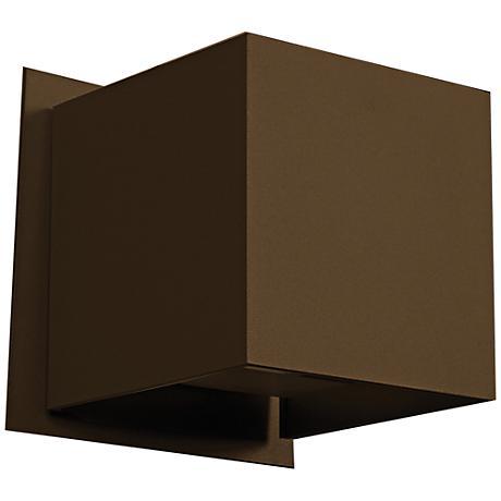 "Square 4 1/4"" High LED Bronze Medium Outdoor Wall Light"