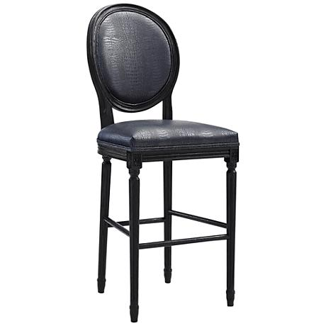 """Philip 29 3/4"""" Gray Croc Eco Leather Upholstered Barstool"""