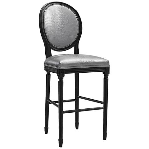 "Philip 29 3/4"" Silver Croc Eco Leather Upholstered Barstool"
