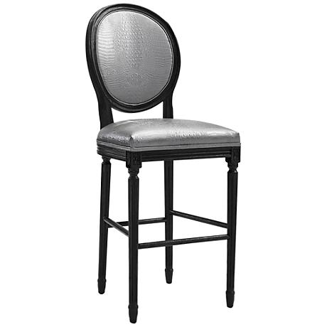 """Philip 29 3/4"""" Silver Croc Eco Leather Upholstered Barstool"""