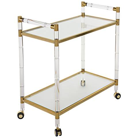 Duval Rectangular Glass 2-Shelf Bronze Brass Bar Cart