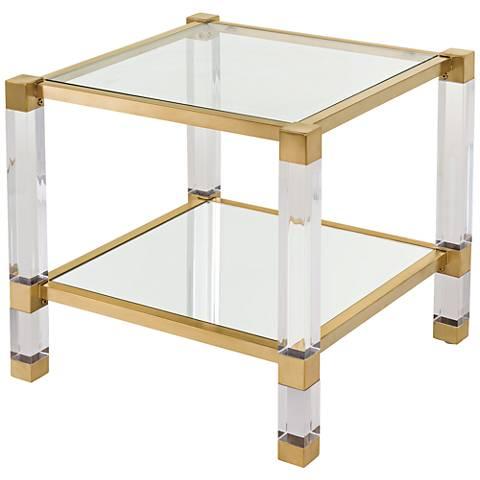 Angie Bronze Brass Clear Glass 2-Shelf Cube Coffee Table