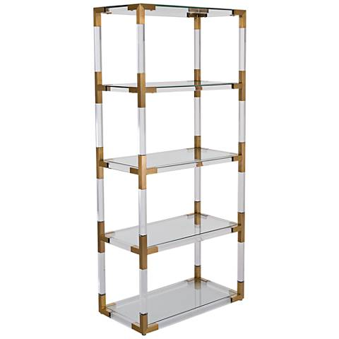 Hayley 4-Shelf Clear Acrylic Open Bronze Brass Bookcase