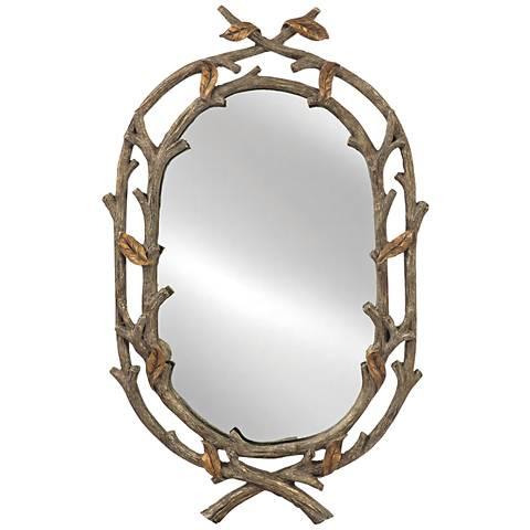"""Dovecliff Bent Branch 27"""" x 30"""" Dark Walnut Wall Mirror"""