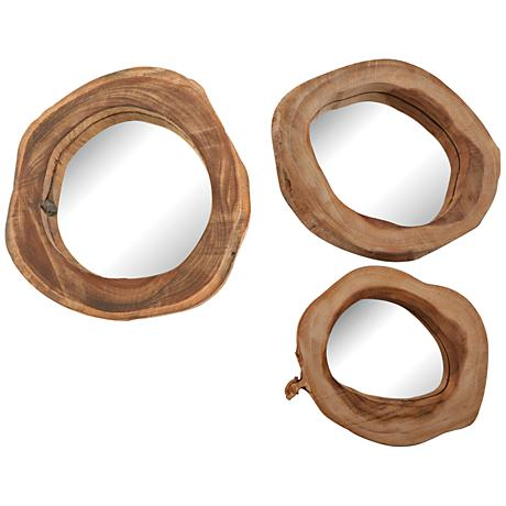 Teak Time Rustic Wood 3-Piece Mirror Set