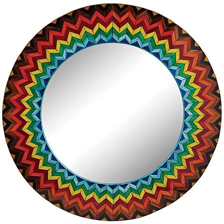 "Vibrant Starburst 32"" Round Multi-Color Wall Mirror"