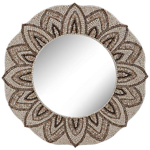 "Petal Edge Floral Sea Shell Mosaic 32"" Round Wall Mirror"