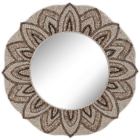 "Petal Edge Floral Sea Shell Mosaic 32"" Round Wall Mirror"
