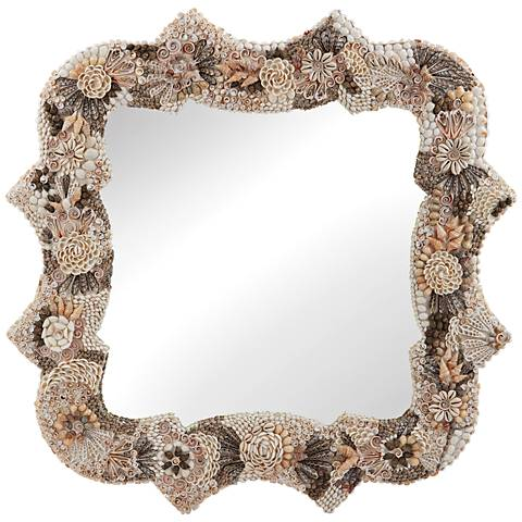 "Antoinette Opulent Shell Mosaic 36"" Square Wall Mirror"