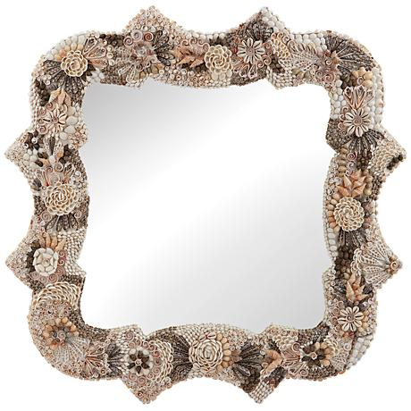 """Antoinette Opulent Shell Mosaic 36"""" Square Wall Mirror"""