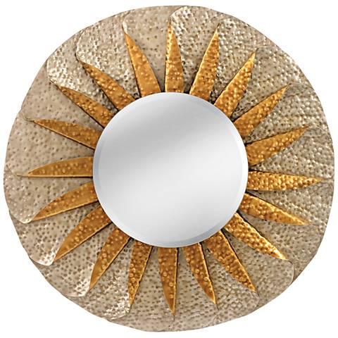 """Minako 35"""" Round Hammered Silver Sunburst Wall Mirror"""