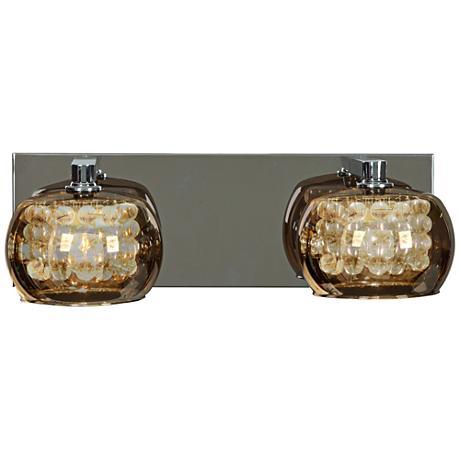 """Glam Chrome 14 1/2"""" Wide 2-Light Mirror Glass Bath Light"""