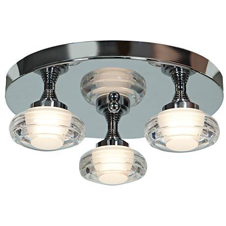 "Optix Acrylic 14"" Wide 3-Light LED Chrome Ceiling Light"