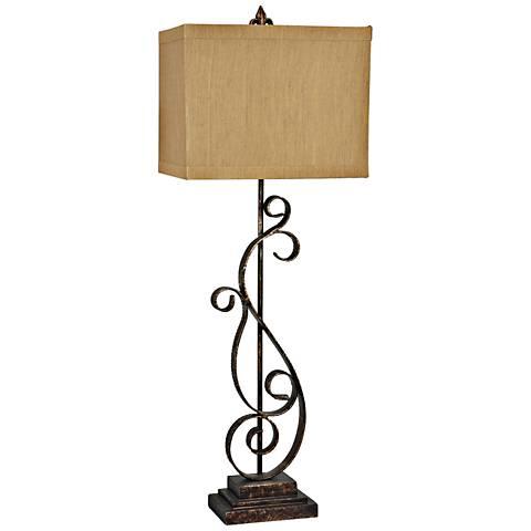 Crestview Circa Antique Bronze Open Scroll Table Lamp