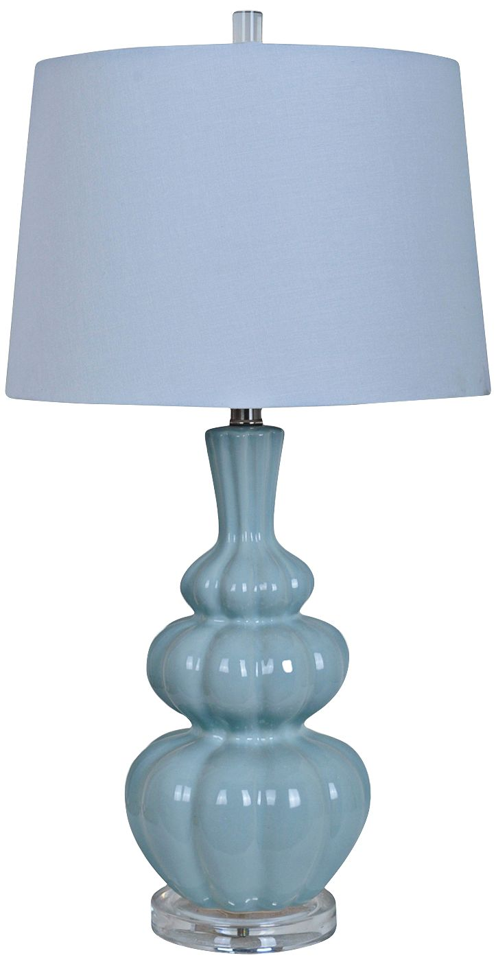 Crestview Collection Strata Pale Blue Ceramic Table Lamp