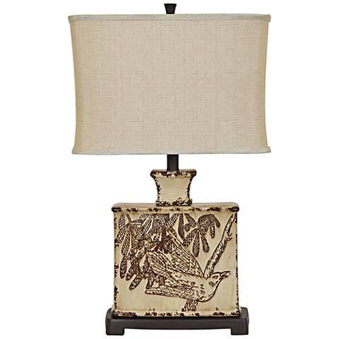 Crestview Collection Elsie Asian Cream Ceramic Table Lamp
