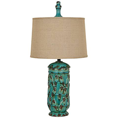 Crestview Songbird Serenade Turquoise Urn Table Lamp