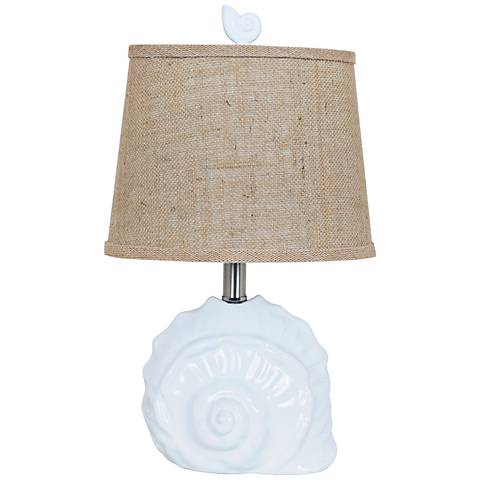 """Crestview 19""""H Collection White Ceramic Shell Accent Lamp"""
