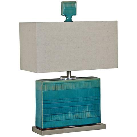 Crestview Glade Turquoise Square Ceramic Table Lamp