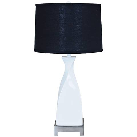 Crestview Collection Twist Modern Glossy White Table Lamp