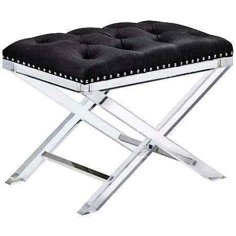 Allura Acrylic and Black Upholstered Vanity Bench