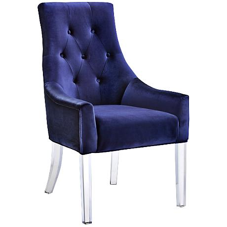 Charisma Acrylic and Blue Upholstered Dining Chair
