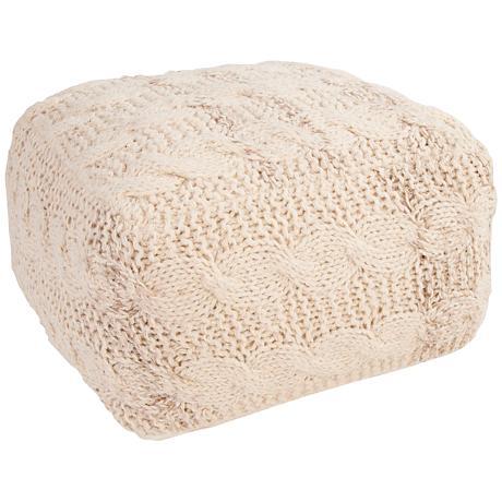 Jaipur Milford Ivory White Wool Square Pouf Ottoman