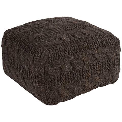 Jaipur Milford Black Wool Square Pouf Ottoman