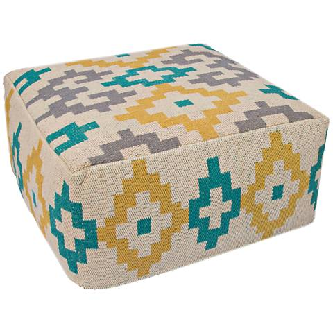 Jaipur Traditions Made Modern Yellow Multi-Color Pouf