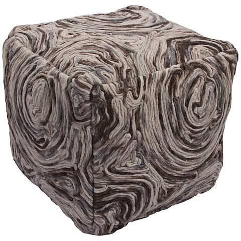 Jaipur Geographic Dark Gray Wool Cube Pouf Ottoman