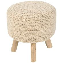 Jaipur Westport Bleached Sand Wool With Wooden Legs Ottoman