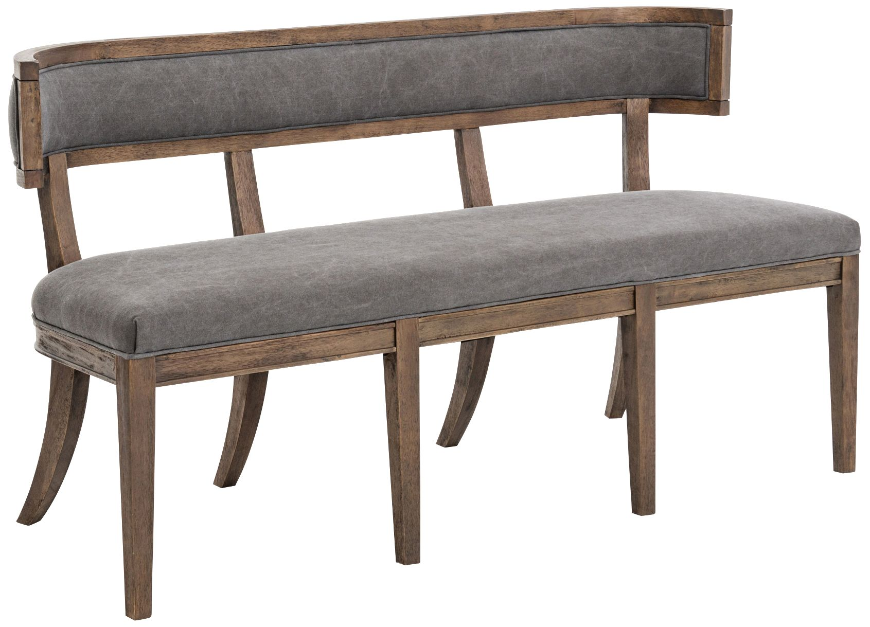 carter dark moon canvas upholstered dining bench