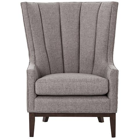 Channelled Chess Pewter Upholstered Wingback Chair