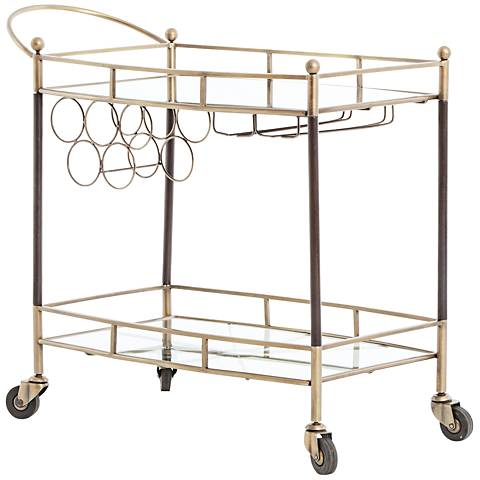 Coles Antique Brass and Mirror Bar Cart
