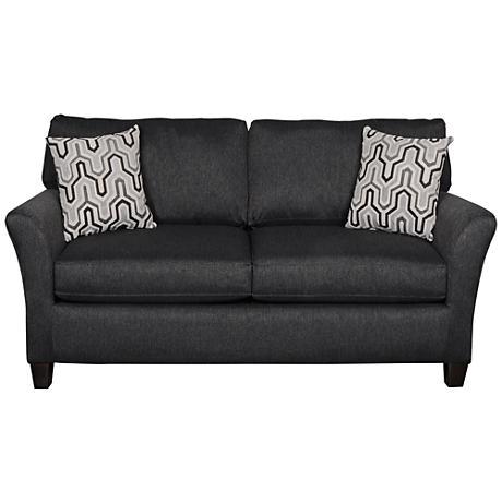 Sofab Shag II Upholstered Black Pepper Modern Loveseat