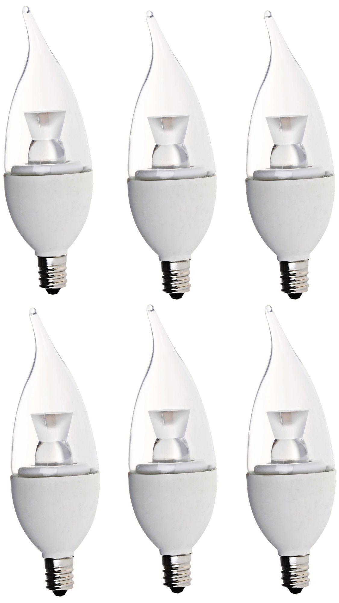 bioluz clear 5 watt dimmable led candelabra bulb pack of 6