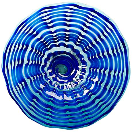 "Aurora Bright Blue 15 3/4"" Round Decorative Glass Plate"