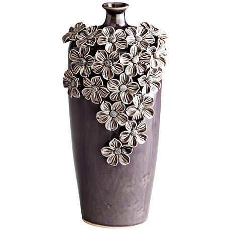 "Daisy Dark Purple 12"" High Decorative Glass Vase"