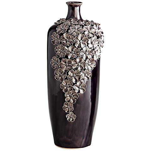 "Daisy Dark Purple 19 1/2"" High Decorative Glass Vase"