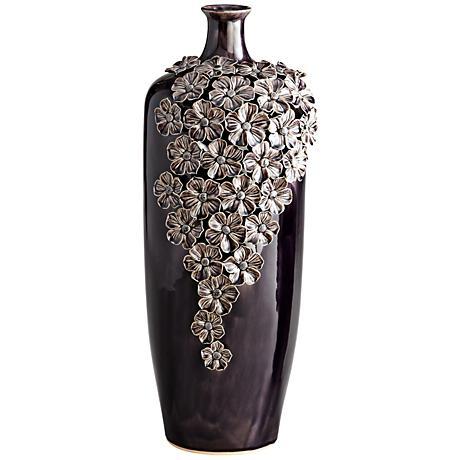 "Daisy Dark Purple 19 1/2"" High Decorative Glass Vase"