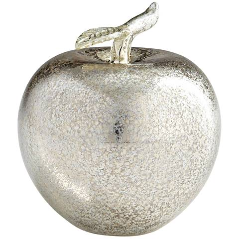 "Decorative Silver Mercury Glass 4 1/4"" High Apple Figurine"