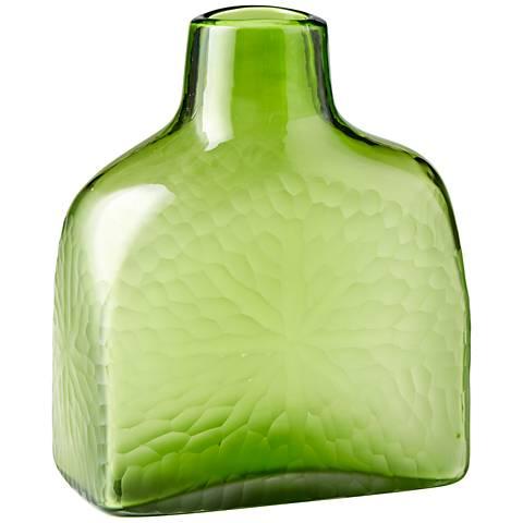 "Marine Green 11 1/4"" High Decorative Glass Vase"