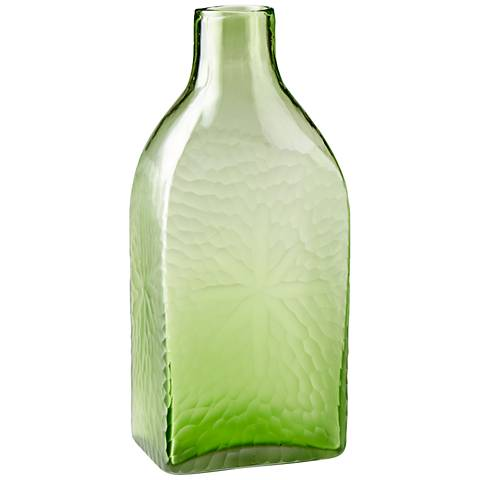 "Marine Green 14 1/2"" High Decorative Glass Vase"
