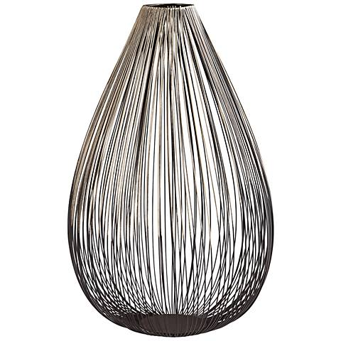 "Pagoda Graphite 12"" High Decorative Iron Vase"