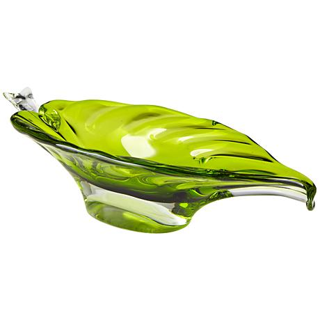 "Never Leaf You 16 1/4"" Wide Decorative Green Glass Bowl"