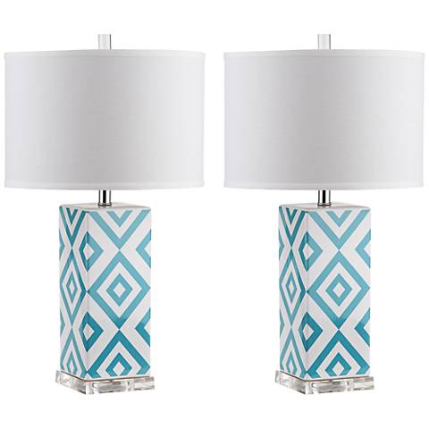 Blue Diamonds White Prism Table Lamp Set of 2