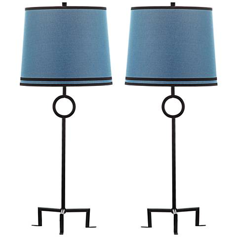 Shotwell Dusk Linen Iron Table Lamp Set of 2