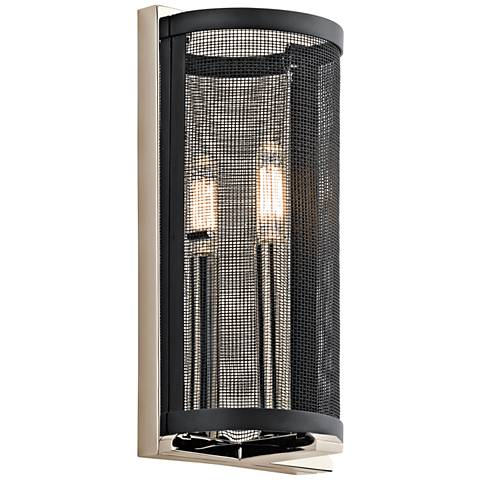 "Kichler Titus Black Mesh 12""H Polished Nickel Wall Sconce"