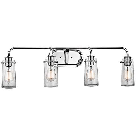 "Kichler Braelyn 4-Light 34 1/4""W Seedy Glass Bath Light"