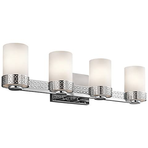 "Kichler Contessa 26"" Wide 4-Light Satin Glass Bath Light"